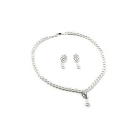Dangle Birthstones Jewelry - White Pearl Necklace with Two Braids and Teardrop Pearl Center Piece & Matching Pearl Dangle Earrings Jewelry Set