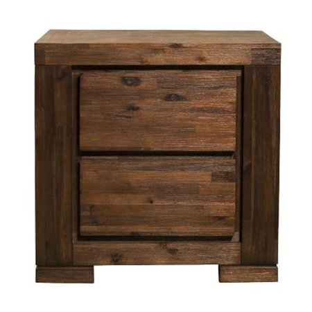 Image of Alpine Furniture 8104-22 Pierre 2 Drawer Nightstand, Antique Cappuccino - 26 x 18 x 26 in.