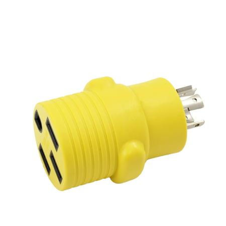 Locking 4 Pin Connector (AC WORKS [RVL14201450] EV/RV Generator Adapter NEMA L14-20P 20Amp 4-Prong Generator Locking Plug to RV/ EV /Rande NEMA 14-50R 50Amp 125/250Volt Female Connector Adapter - )