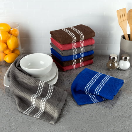- 100% Combed XL Cotton Dish Cloths Pack-Absorbent Popcorn Terry Weave-Kitchen Dishtowels by Somerset Home