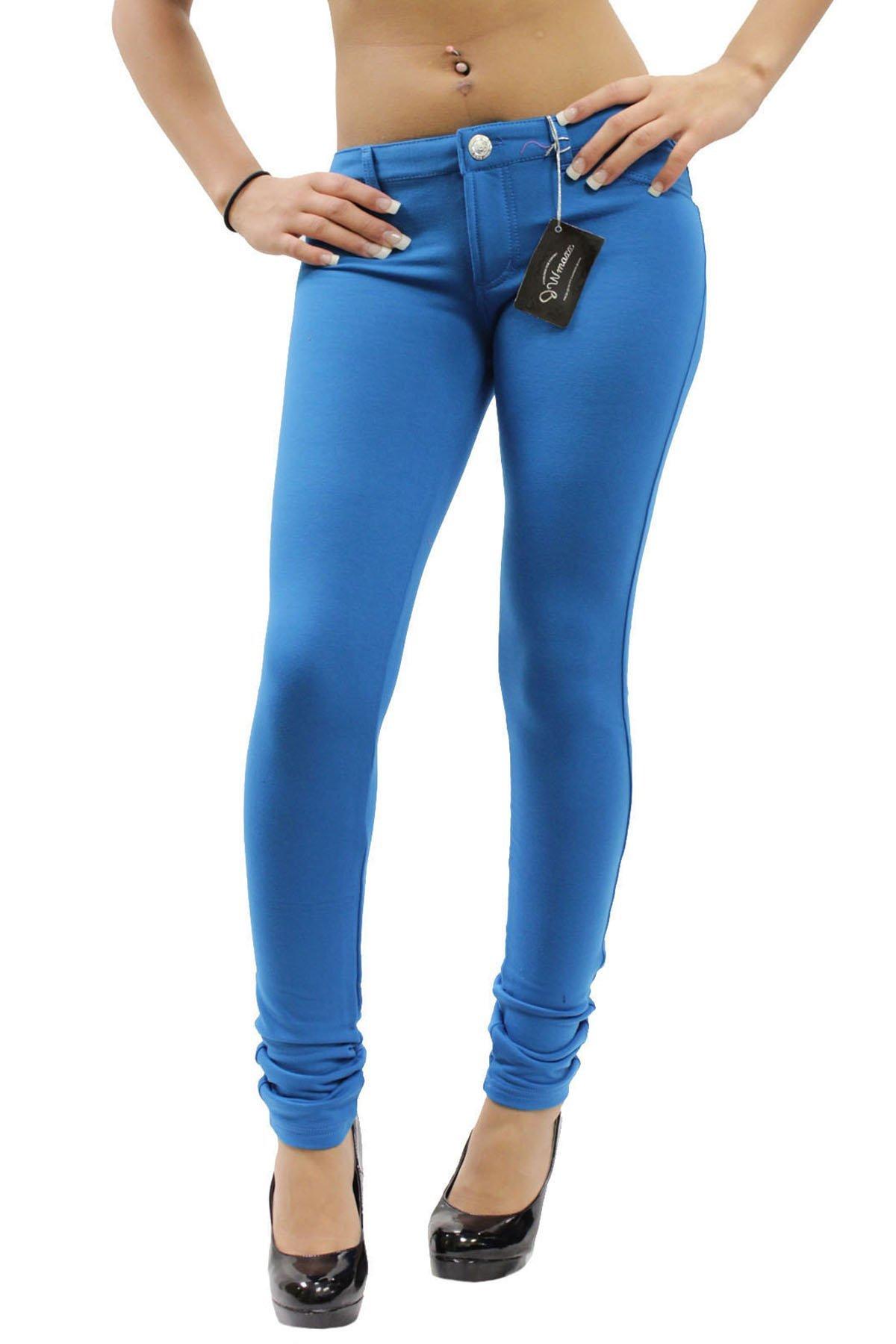 SIZE 8-12 NEW 3D BLUE SKINNY STRETCH DENIM FULL LENGTH LEGGINGS UK SELLER