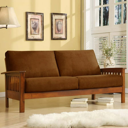 Mission Oak Microfiber Sofa, Rust Plush Microfiber Sofa