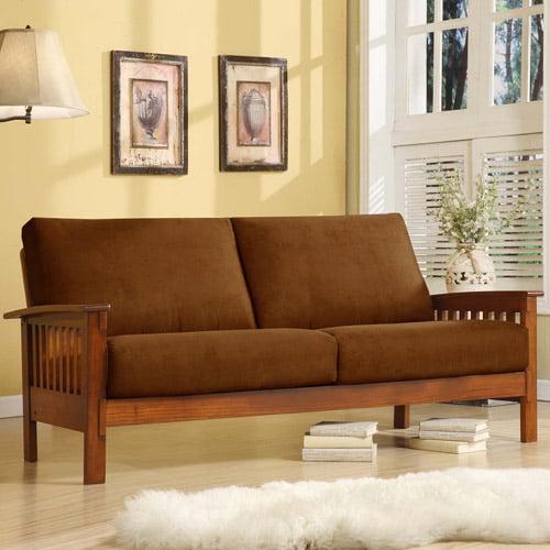 Mission Oak Microfiber Sofa, Rust