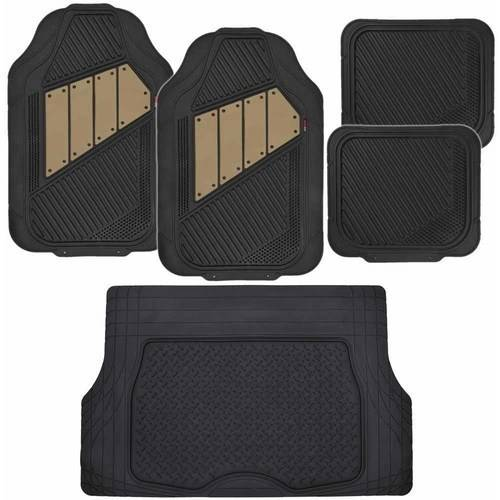 Motor Trend FlexTough Car Floor Mats, 2-Tone Colors Heavy Duty Rubber with Cargo Trunk Mat