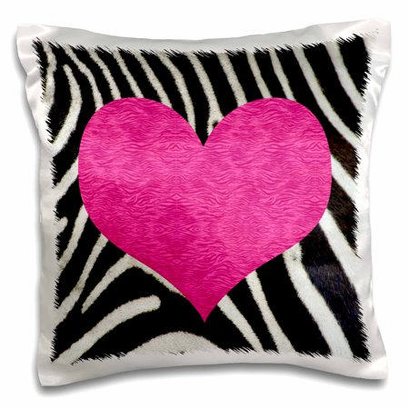 3dRose Punk Rockabilly Zebra Animal Stripe Pink Heart Print, Pillow Case, 16 by 16-inch
