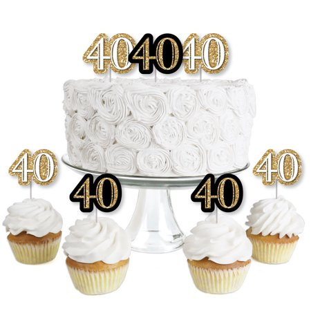 Halloween Party Desserts Treats (Adult 40th Birthday - Gold - Dessert Cupcake Toppers - Birthday Party Clear Treat Picks - Set of)