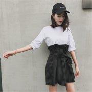 Simple Elegant Fake Two Piece Stripe Women Dress Office Lady Sash Five-point Sleeve Contrast Waist Mini Dresses Summer