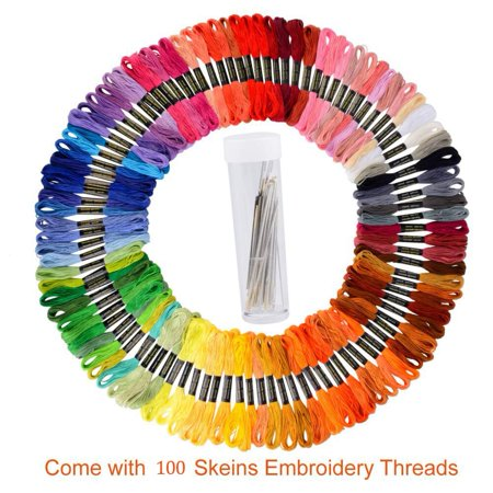 GLiving Embroidery Floss 100 Skeins Embroidery Thread Rainbow Colors Cross Stitch Threads for Friendship Bracelets with Embroidery Tools](Friendship Bracelet Pattern)