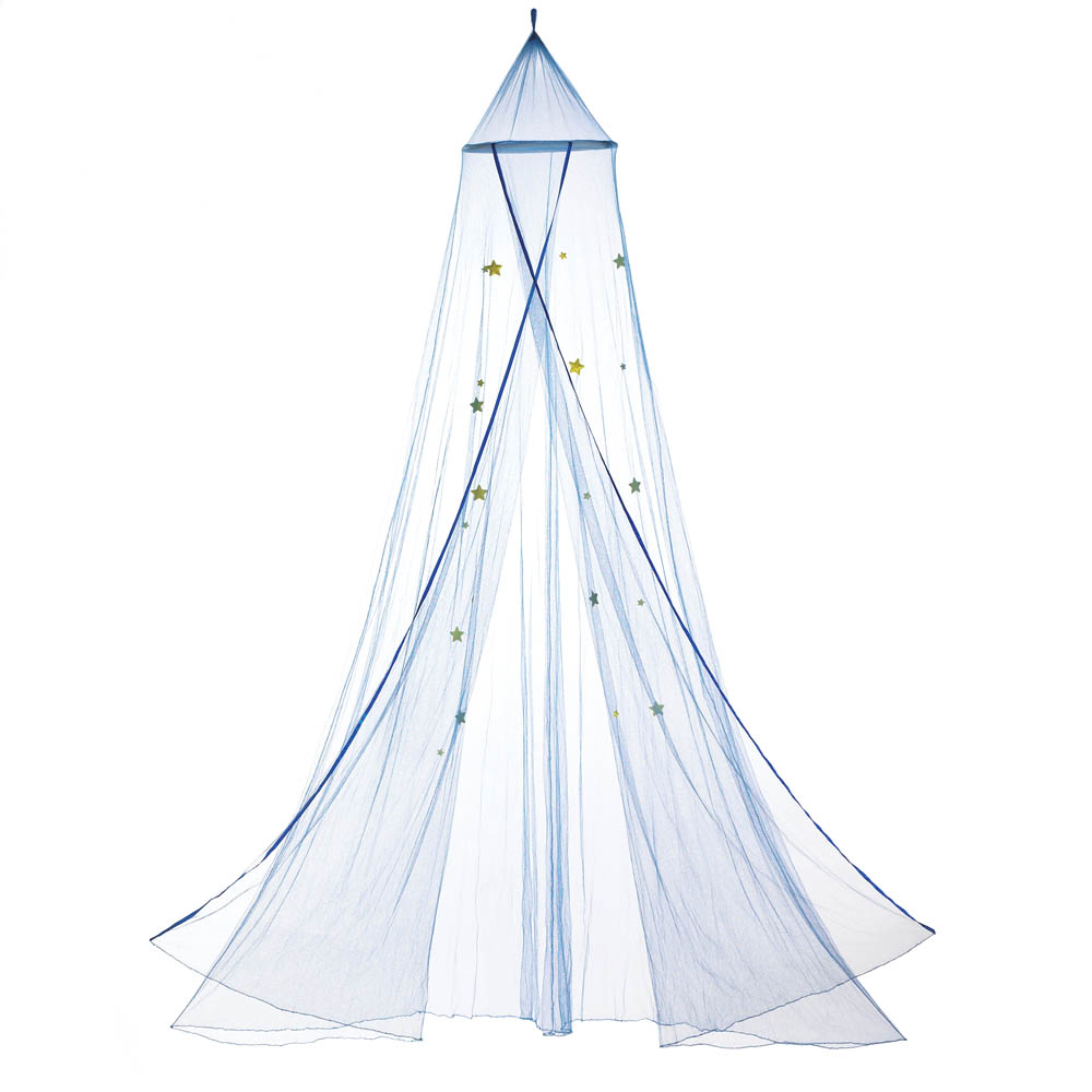 Princess Canopy, Blue Polyester Mosquito Netting Canopy With Stars