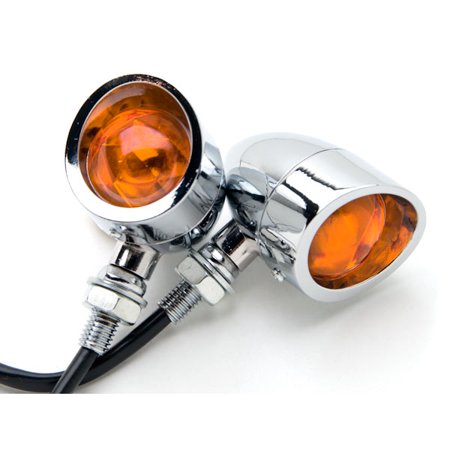 Motorcycle 2 pcs Chrome Amber Turn Signals Lights For Honda Gold Wing Goldwing GL 500 650 1000 1100 - image 3 de 6