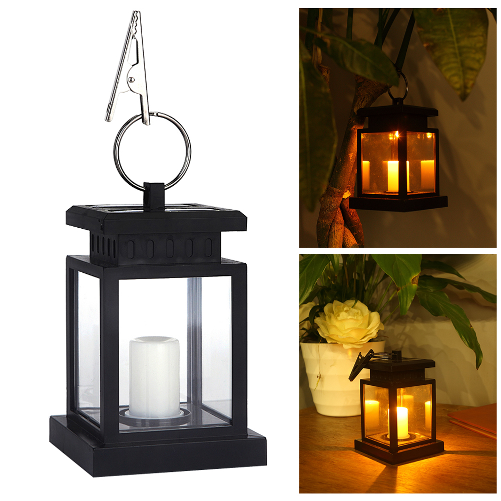 Garden Solar Powered LED Candle Table Lantern Hanging Light Outdoor Coach  Lamp