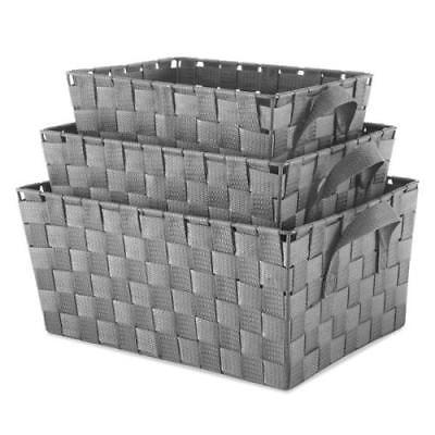 Whitmor 3-Piece Grey Woven Strap Storage Baskets by