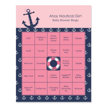Ahoy - Nautical Girl - Baby Shower Game Bingo Cards - 16 Count