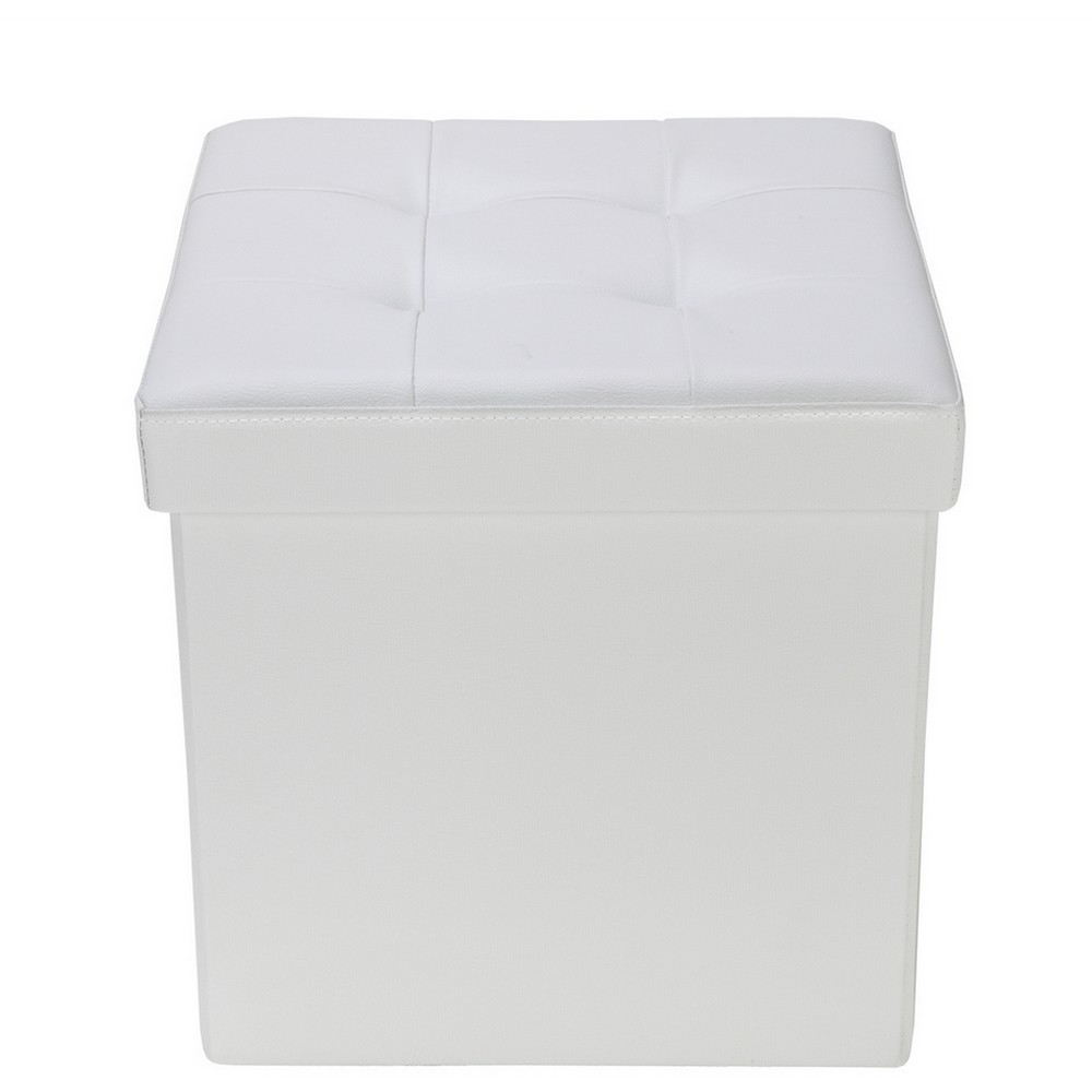 "Homegear 15"" Folding Storage Ottoman / Footstool / Bench Cream"