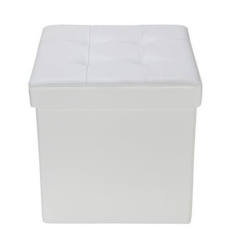 "Homegear 15"" Folding Storage Ottoman / Footstool / Bench Cream"