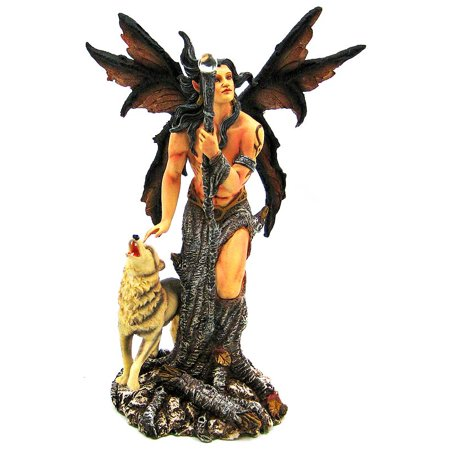Native Wolf Male Forest Fairy Statue Winter - Winter Fairies