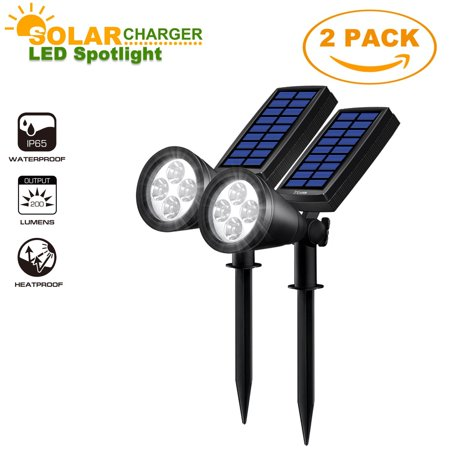 Solar LED Spotlight, Costech 2-in-1 Waterproof Adjustable 4 LED Wall light Landscape Solar Lights with Automatic On/Off Sensor for Driveway, Yard, Lawn, Pathway, Garden (2 Pack) (Adjustable Spotlight)