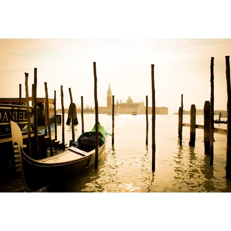 Framed Art for Your Wall Gondola Landscape Italy Venezia Seppia Travel 10x13 Frame (Italian Gondola Driver)