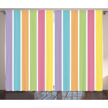 Colorful Curtains 2 Panels Set, Pastel Colored Striped Summer Pattern Funky Cheerful Rainbow Inspired Traditional, Window Drapes for Living Room Bedroom, 108W X 84L Inches, Multicolor, by Ambesonne