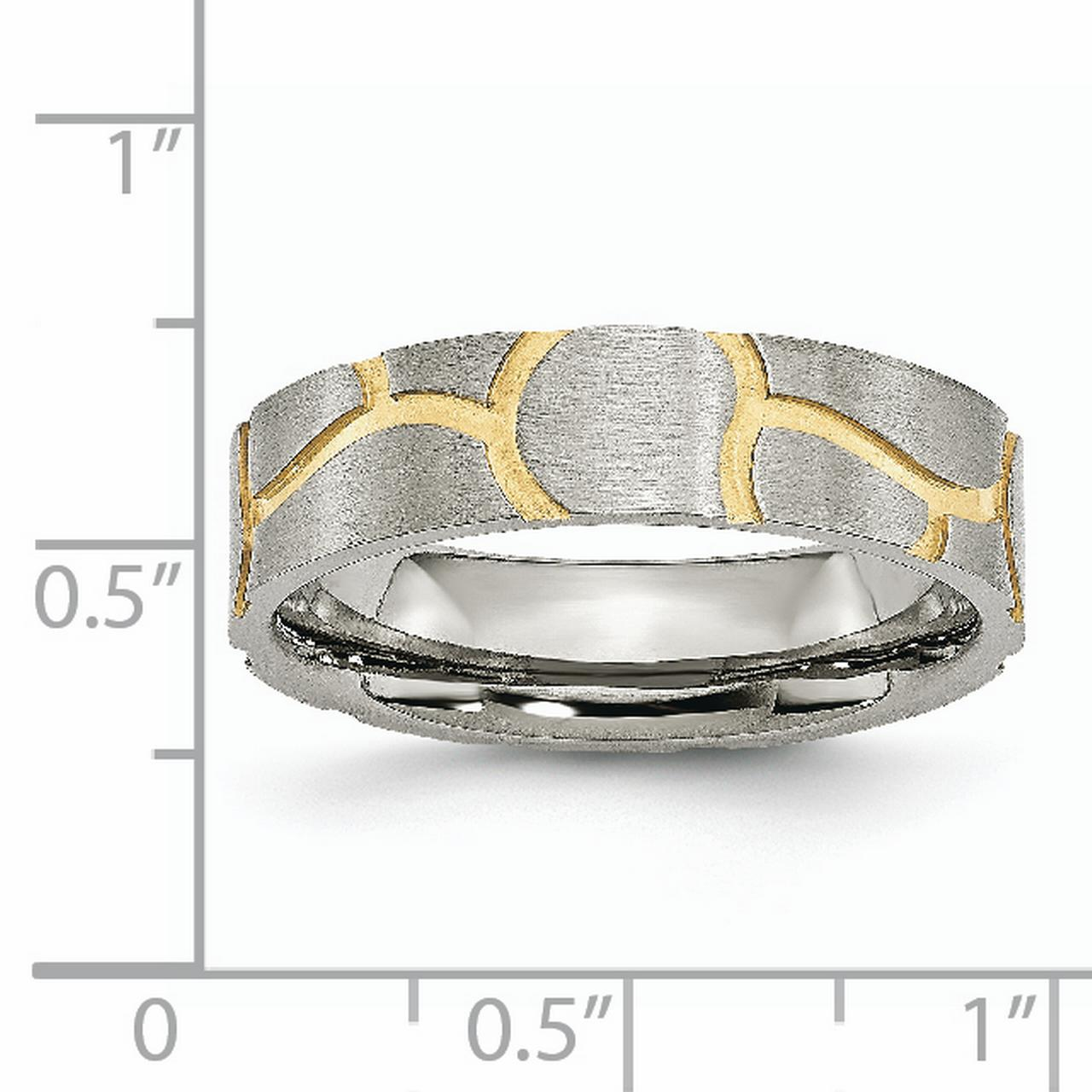 Stainless Steel Grooved Yellow Plated Ladies 6mm Brushed Wedding Ring Band Size 8.00 Fancy Fashion Jewelry Gifts For Women For Her - image 4 de 6