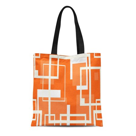 ASHLEIGH Canvas Tote Bag Orange Modern Coral Mid Century Pattern Geometric Retro Ivory Reusable Handbag Shoulder Grocery Shopping (Best Mid Range Handbags)