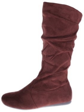 028e44fba93a Product Image Women s Winter Fashion High Mid Calf Slouchy Flat Casual  Dress Boot Brown 7