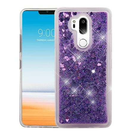 LG G7 ThinQ (G710) - Phone Case BLING Hybrid Liquid Glitter Quicksand Rubber Silicone Gel TPU Protector Hard Cover - Purple Purple Silicone Rubber