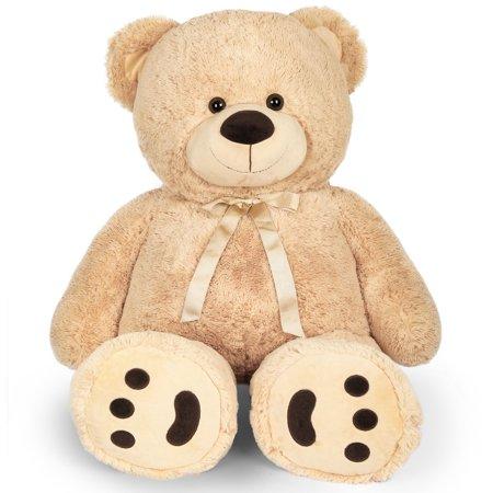 4 FT Big Teddy Bear Stuffed Animal, Large Stuffed Teddy Bear Plush Toy with Big Footprints for Kids, Girlfriend, Valentine's Day Gifts, Christmas, Birthday,