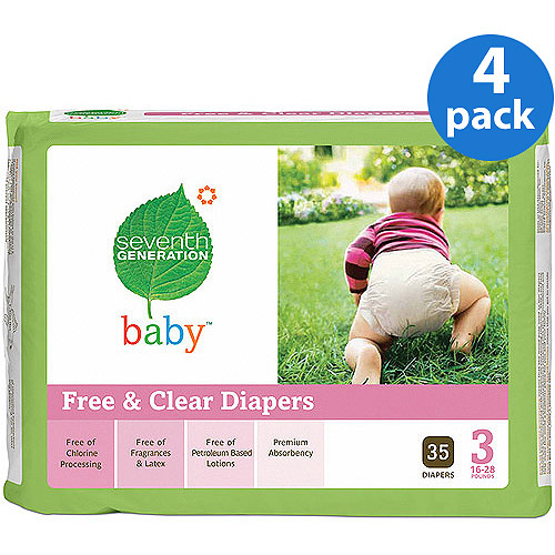 Seventh Generation - Free & Clear Diapers Size 3, 35 ct (Pack of 4)
