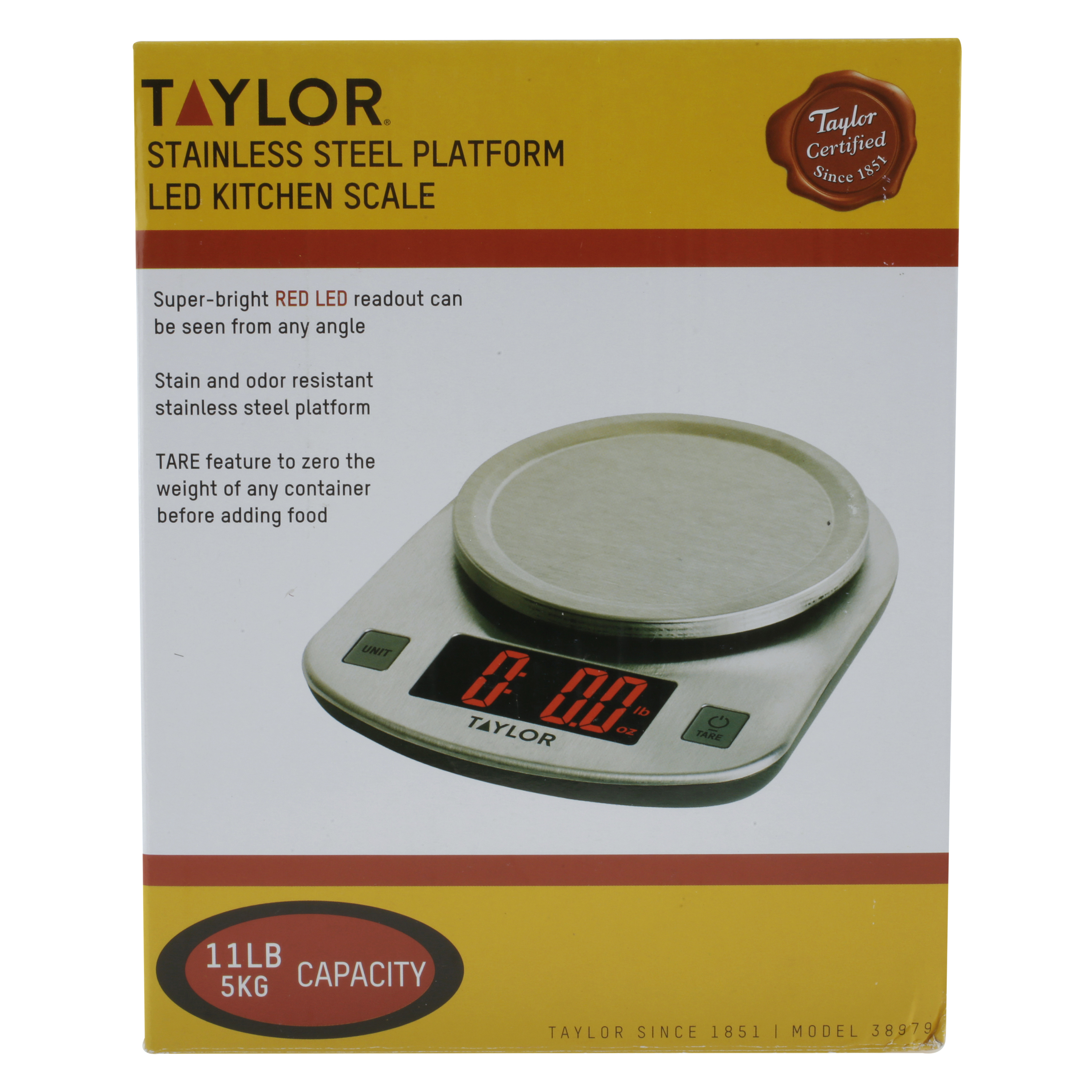 Taylor, Stainless Steel, LED Kitchen Scale, 11 LB Capacity