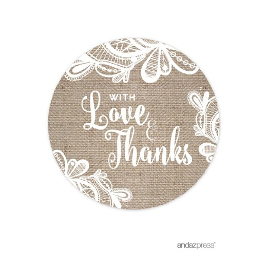 With Love and Thanks  Burlap Lace Wedding Round Circle Gift Tags, 24-Pack