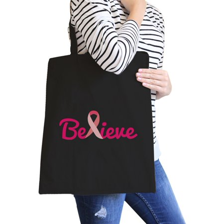 Believe Breast Cancer Canvas Bag Cute Cancer Awareness Gift Idea - Breast Cancer Bags