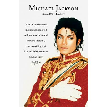 Commemorative Poster (Michael Jackson Loved Quote Commemorative Portrait Music Icon Poster - 11x17 inch )