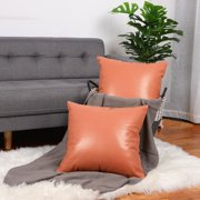 "Pack of 2 Faux Leather Pillow Covers, Decorative Throw Cushion Covers for Couch Sofa Bed, 18"" x 18"", Orange"