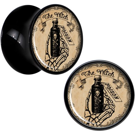 Body Candy Black Acrylic Witches Brew Poison Potion Halloween Plug Set of 2 1/2