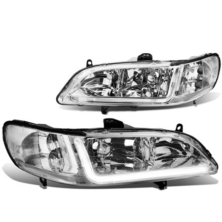 For 1998 to 2002 Honda Accord LED DRL Light Bar Headlight Chrome Housing Clear Corner Headlamp 99 00 01 Left+Right