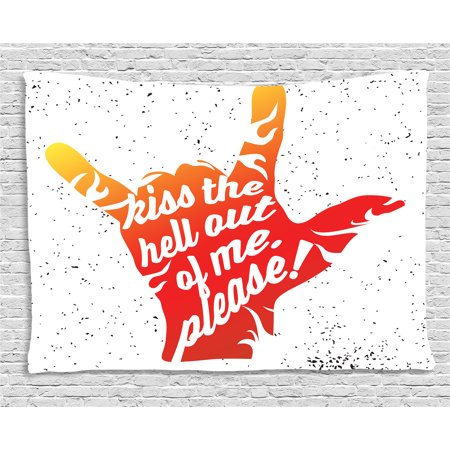 Quote Tapestry, Kiss the Hell out of Me Please Phrase Rock and Roll Symbol Grunge Dots, Wall Hanging for Bedroom Living Room Dorm Decor, 60W X 40L Inches, Vermilion Orange Black, by Ambesonne](Rock And Roll Wall Decor)