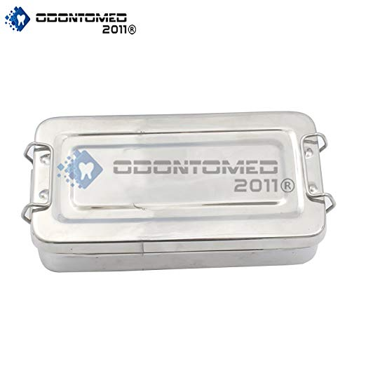 "Odontomed2011® 8""X4""X2"" Instrument Tray With Lid With Lock Holloware Dental Holloware Instruments Odm"