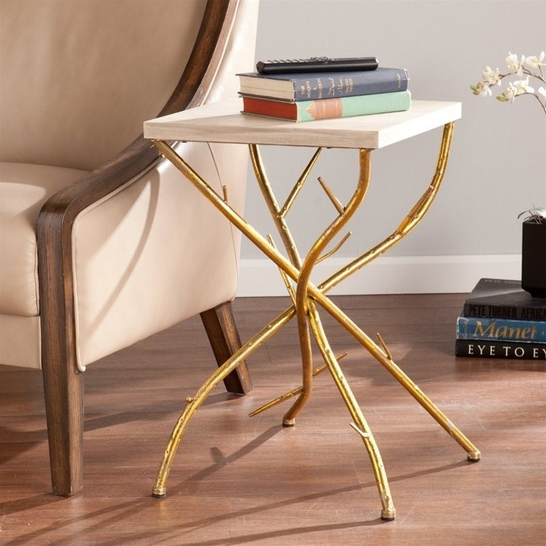 Southern Enterprises Nymeria Branch Accent Table in Gold and White
