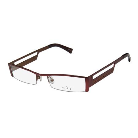 New Ogi 9038 Mens/Womens Designer Half-Rim Burgundy / Yellow Unique Design European Classy Fancy Frame Demo Lenses 51-19-140 (Eyeglasses Europe)