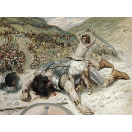 David Cuts off the Head of Goliath James Tissot Watercolor Jewish Museum New York Poster Print (Head Cut Off)