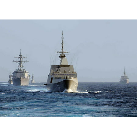 Supreme Teddy Center - Canvas Print The Singapore Navy frigate RSS Supreme (FFG 73), center, leads the guided missile destroyer USS Chun Stretched Canvas 10 x 14