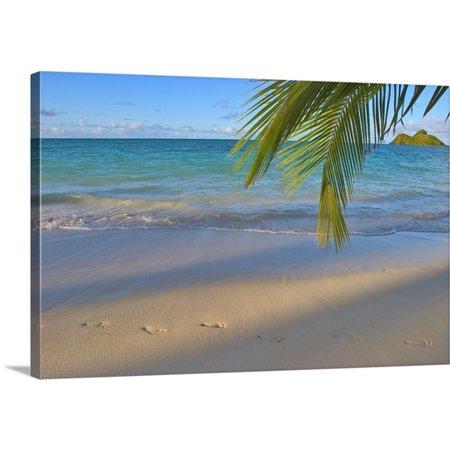 Great BIG Canvas Tomas Del Amo Premium Thick-Wrap Canvas entitled Hawaii, Oahu, Footprints In The Sand At Lanikai (Footprints Canvas)