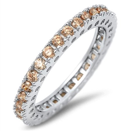 - Sterling Silver Women's Flawless Champagne Cubic Zirconia Stackable Eternity Ring (Sizes 4-12) (Ring Size 10)