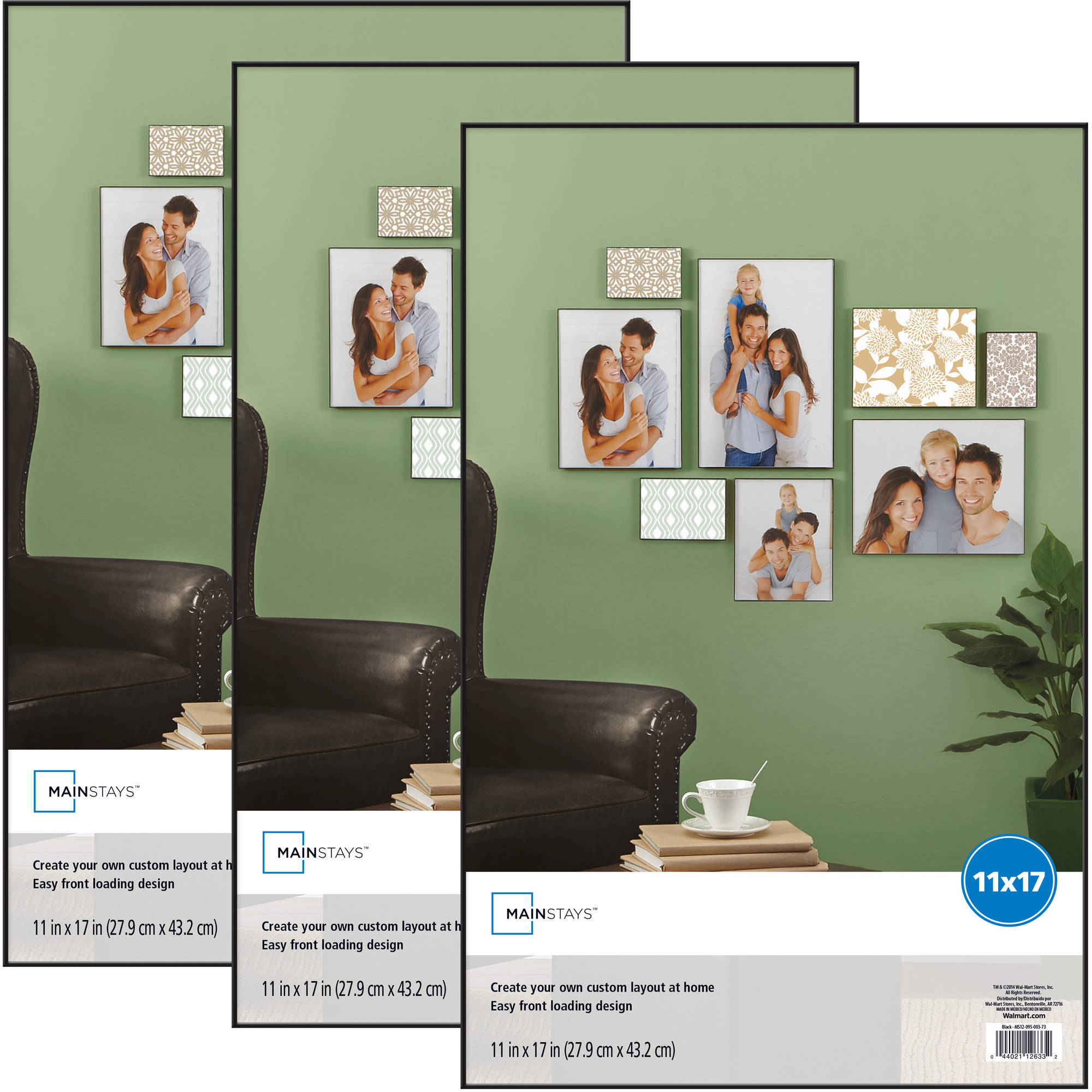 mainstays 11x17 format picture frame set of 3 walmartcom