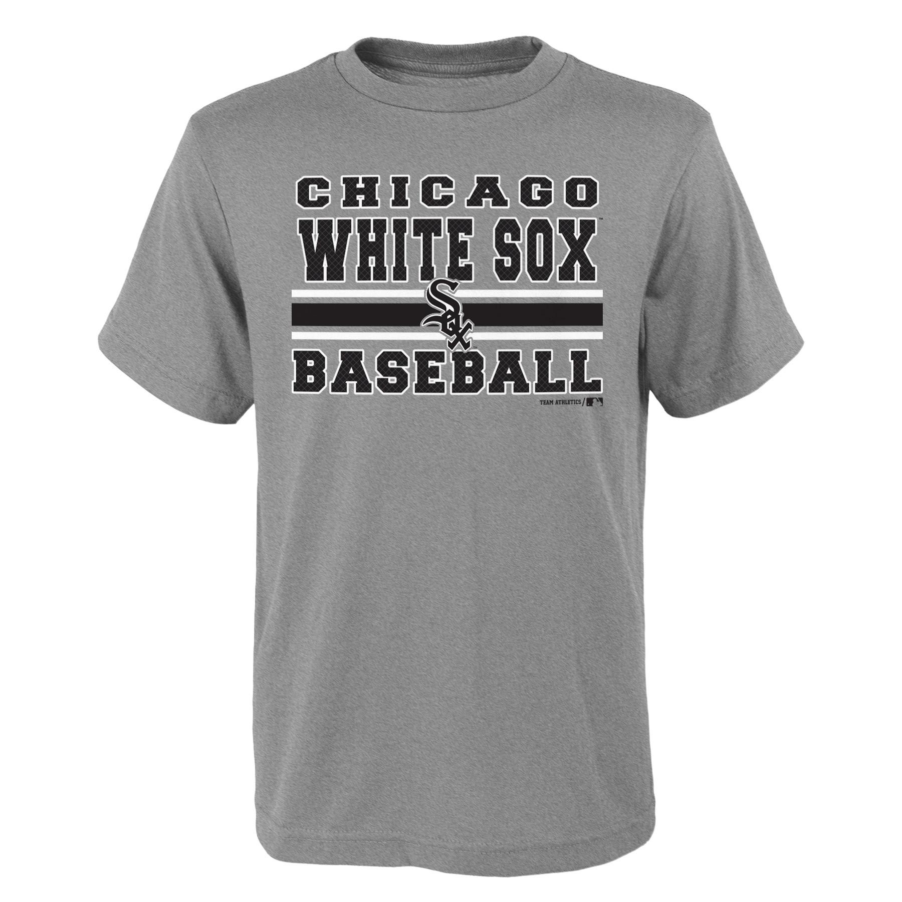 MLB Chicago WHITE SOX TEE Short Sleeve Boys OPP 90% Cotton 10% Polyester Gray Team Tee 4-18