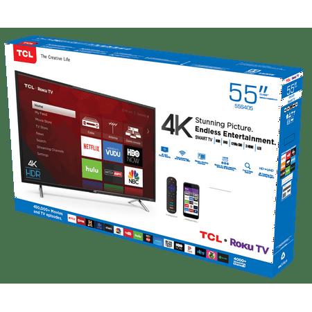 Tcl 55 Class 4k Ultra Hd 2160p Roku Smart Led Tv 55s405