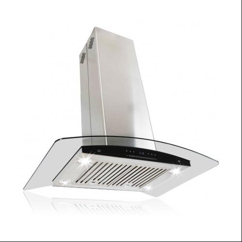 """Image of AKDY 30"""" Stainless Curve Glass Island Mount Range Hood Baffle Filters Dual Touch Control Panel"""