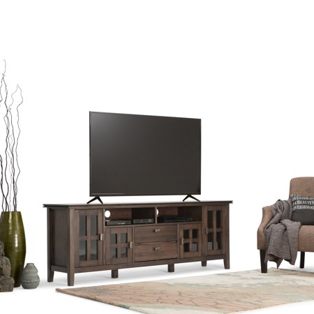 Solid Wood Tv Stand - WyndenHall  Stratford Solid Wood 72 inch Wide Contemporary TV Media Stand in Natural Aged Brown For TVs up to 80 inches