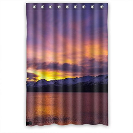 EREHome Sunset Sky Waterfall River Snow Mountains Scene Shower Curtain Polyester Fabric Bathroom Decorative Curtain Size 48x72 Inches - image 1 de 1